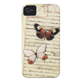Parchment and butterflies collage iPhone 4 cover