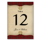 Parchment and Tartan Wedding Table Number