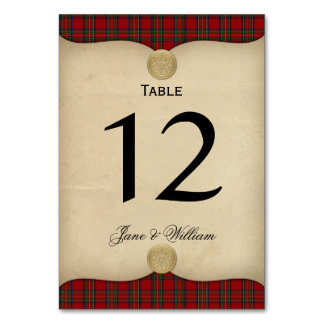 Parchment and Tartan Wedding Table Number Table Cards