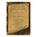 Parchment and Wood Look Invitation 13 Cm X 18 Cm Invitation Card