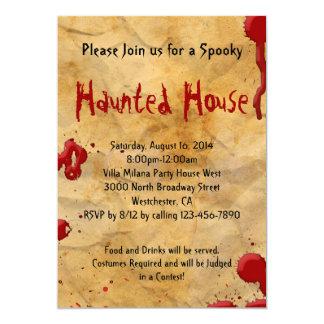 Parchment Blood Splatter Haunted House 13 Cm X 18 Cm Invitation Card