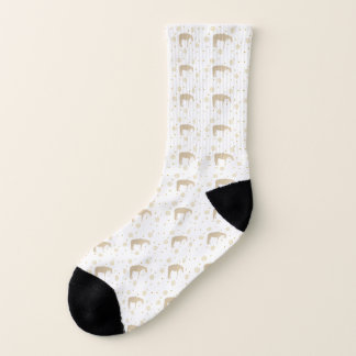 Parchment Gold White Western Horse Silhouette Socks
