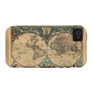 Parchment Old Style World Map iPhone 4 Case