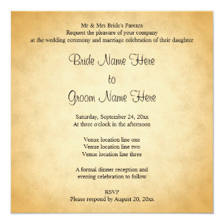 Parchment Pattern Design Wedding 13 Cm X 13 Cm Square Invitation Card
