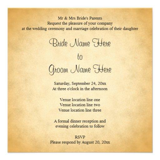 Parchment Pattern Design Wedding Custom Invitation