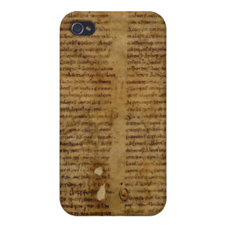 Parchment text with antique writing, old paper covers for iPhone 4
