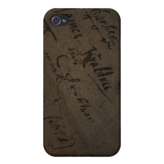 Parchment text with antique writing, old paper iPhone 4 case