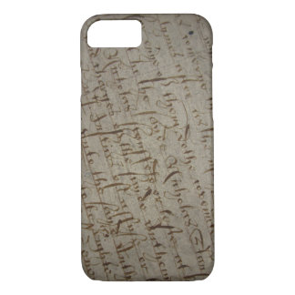 Parchment text with antique writing, old paper iPhone 7 case