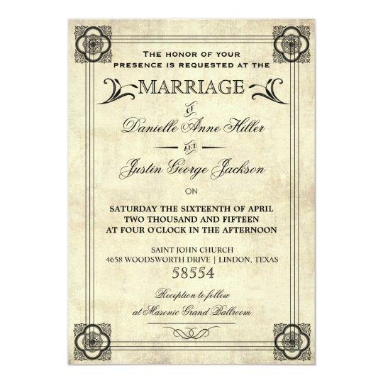 Parchment Typography Vintage Wedding Invitation