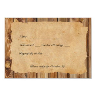 Parchment Wood Heart rsvp with envelopes Card