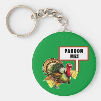 Pardon Me Funny Turkey Day Design Keychains
