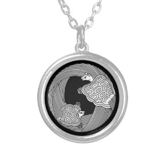 Parent and child turtle silver plated necklace