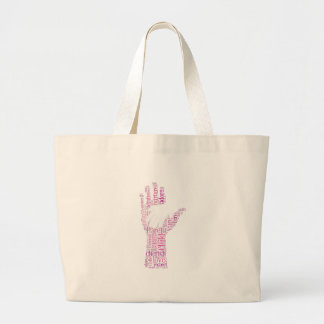 Parent Child Hands Family Typography Word Cloud Jumbo Tote Bag