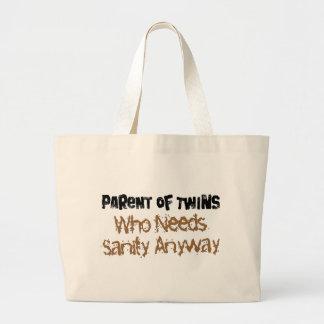 Parent of TWINS Who Needs Sanity Anyhow Jumbo Tote Bag