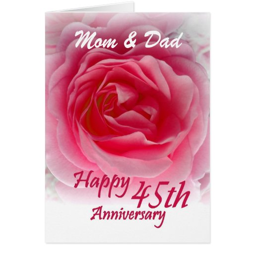 45 Wedding Anniversary Gift For Parents: PARENTS - 45th Wedding Anniversary With Pink Rose