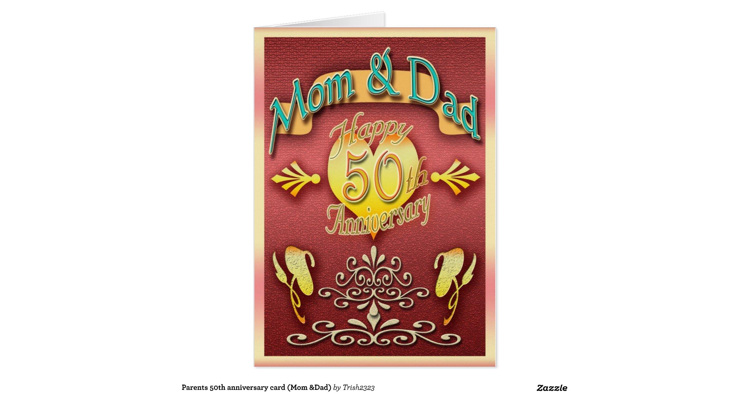 Parents th anniversary card mum dad zazzle
