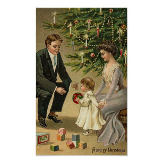 Parents and Child Christmas Card Poster