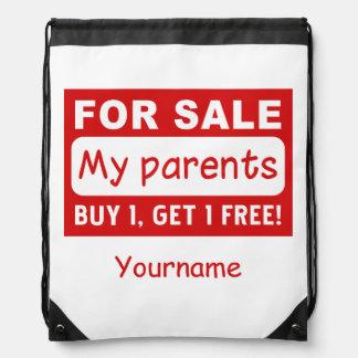 PARENTS FOR SALE custom monogram bags Drawstring Bag