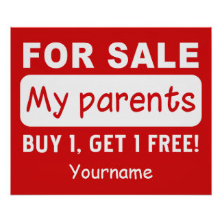 PARENTS FOR SALE custom poster