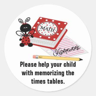 Parent's Homework Reminder Stickers