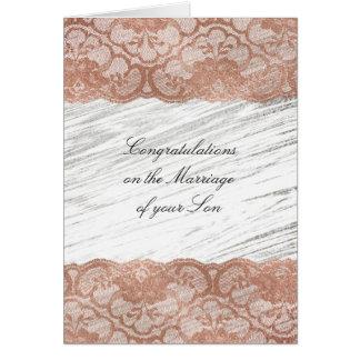 Parents of Bride Congratulations Pink Rose Gold Card
