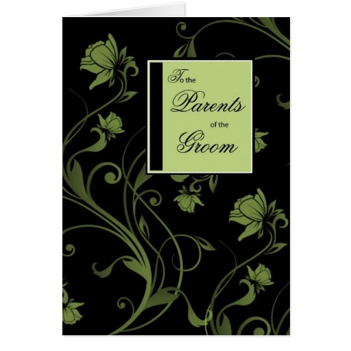 Parents of Groom Congratulations, Black, and Green Greeting Card