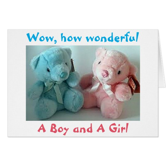 PARENTS OF TWIN BOY/TWIN GIRL CONGRATULATIONS CARD