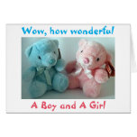 PARENTS OF TWIN BOY/TWIN GIRL CONGRATULATIONS GREETING CARD