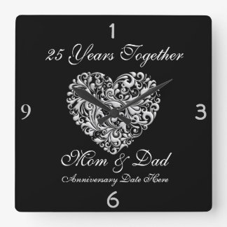PARENTS SILVER 25th Anniversary GIFT Wall Clock