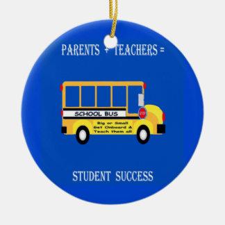 Parents + Teachers = Student Success Round Ceramic Decoration
