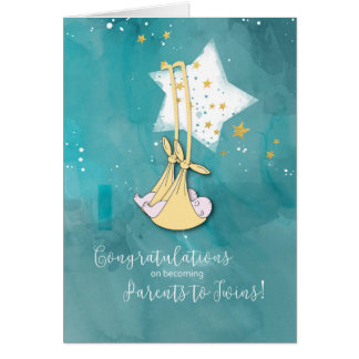 Parents to Twins, Congratulations, Baby in Stars Card