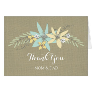 Parents Wedding Day Thank You Burlap Spring Floral Card