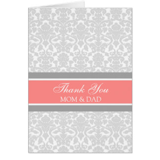 Parents Wedding Day Thank You Coral Gray Damask Card
