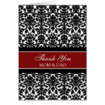 Parents Wedding Day Thank You Coral Red Damask