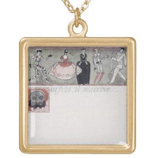 'Parfois il m'arrive' (ink and w/c on paper) Square Pendant Necklace