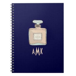 Parfum Bottle Illustration With Monogram Initials Notebook