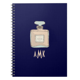 Parfum Bottle Illustration With Monogram Initials Notebooks