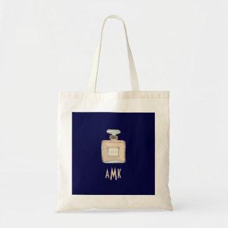Parfum Bottle Illustration With Monogram Initials Tote Bag