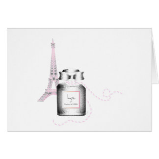 Parfum Bottle with Eiffel Tower and Rope Greeting Card