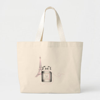 Parfum Bottle with Eiffel Tower and Rope Jumbo Tote Bag