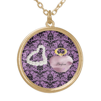 Parfum & Pearls Purple Damask Gold Round Necklace Round Pendant Necklace