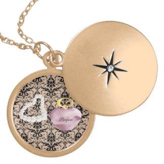 Parfum & Pearls Taupe Damask Gold Round Locket