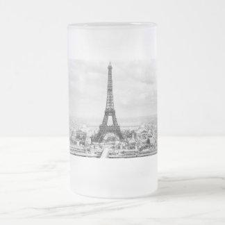 Paris 1889 16 oz frosted glass beer mug