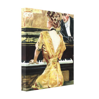 paris , 1909 , europe , woman , fashion , fashiona gallery wrapped canvas