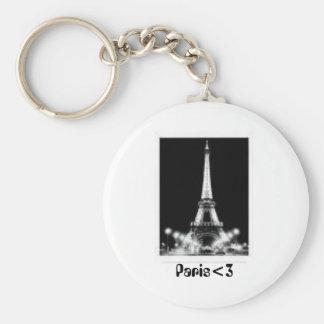 Paris<3 Basic Round Button Key Ring