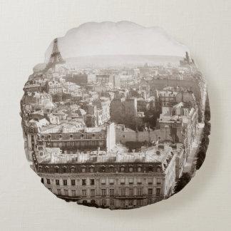 Paris: Aerial View, 1900 Round Cushion