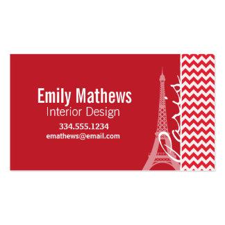 Paris Alizarin Crimson Chevron Business Card Templates