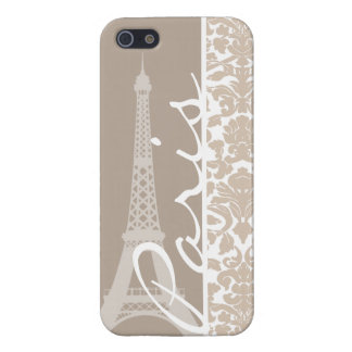 Paris; Almond Color Damask Pattern Cover For iPhone 5/5S