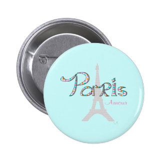 PARIS Amour with Eiffel Tower 6 Cm Round Badge