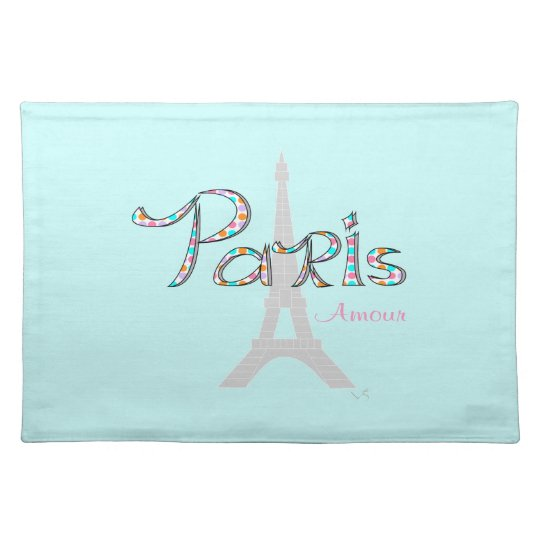 PARIS Amour with Eiffel Tower Placemats